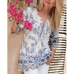 Soft Surroundings Nimes Toile Embroider Tunic Top